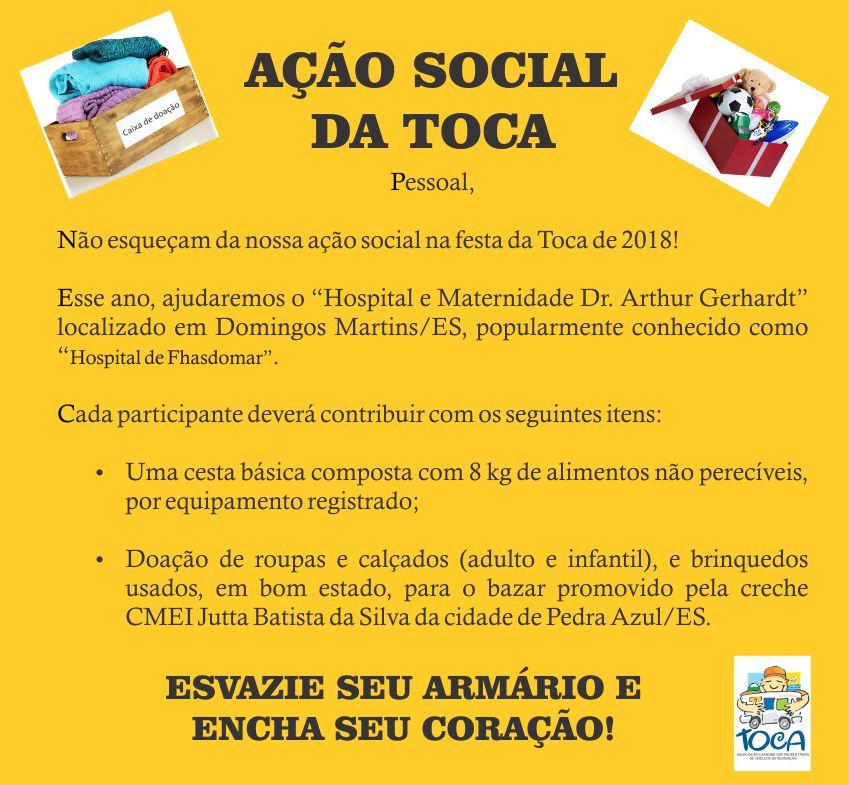 AÇÃO SOCIAL TOCA 2018